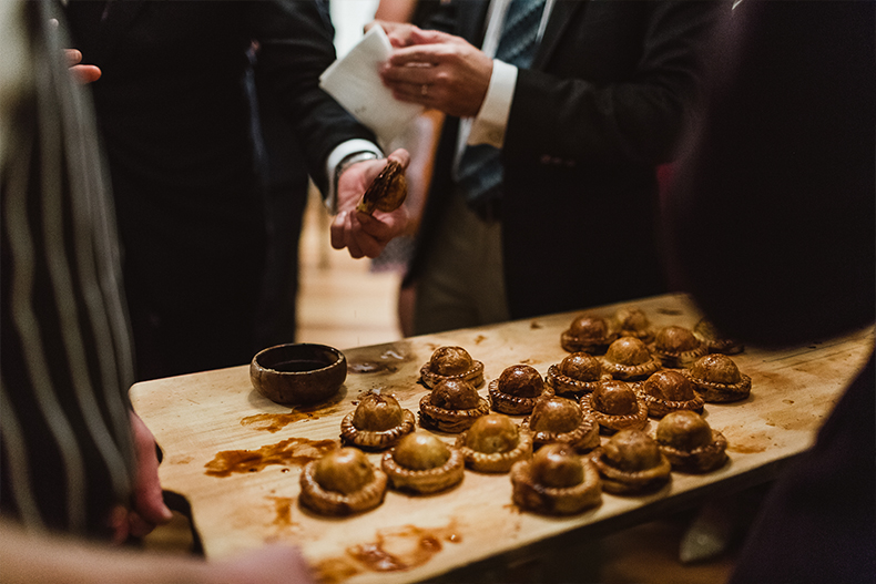 real-wedding-lynda-paul-home-european-style-private-property-pies-homemade-catering-food