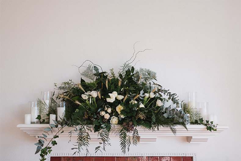 real-wedding-lynda-paul-home-private-property-floral-arrangement-mantlepiece-fire-place-provincial-european-style