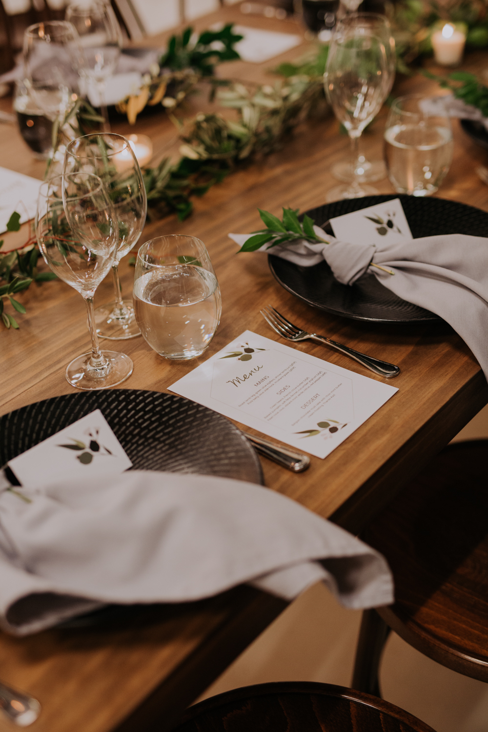 white+white weddings and events carrie and jay real wedding styling timber rustic studio warehouse venue black plates table setting