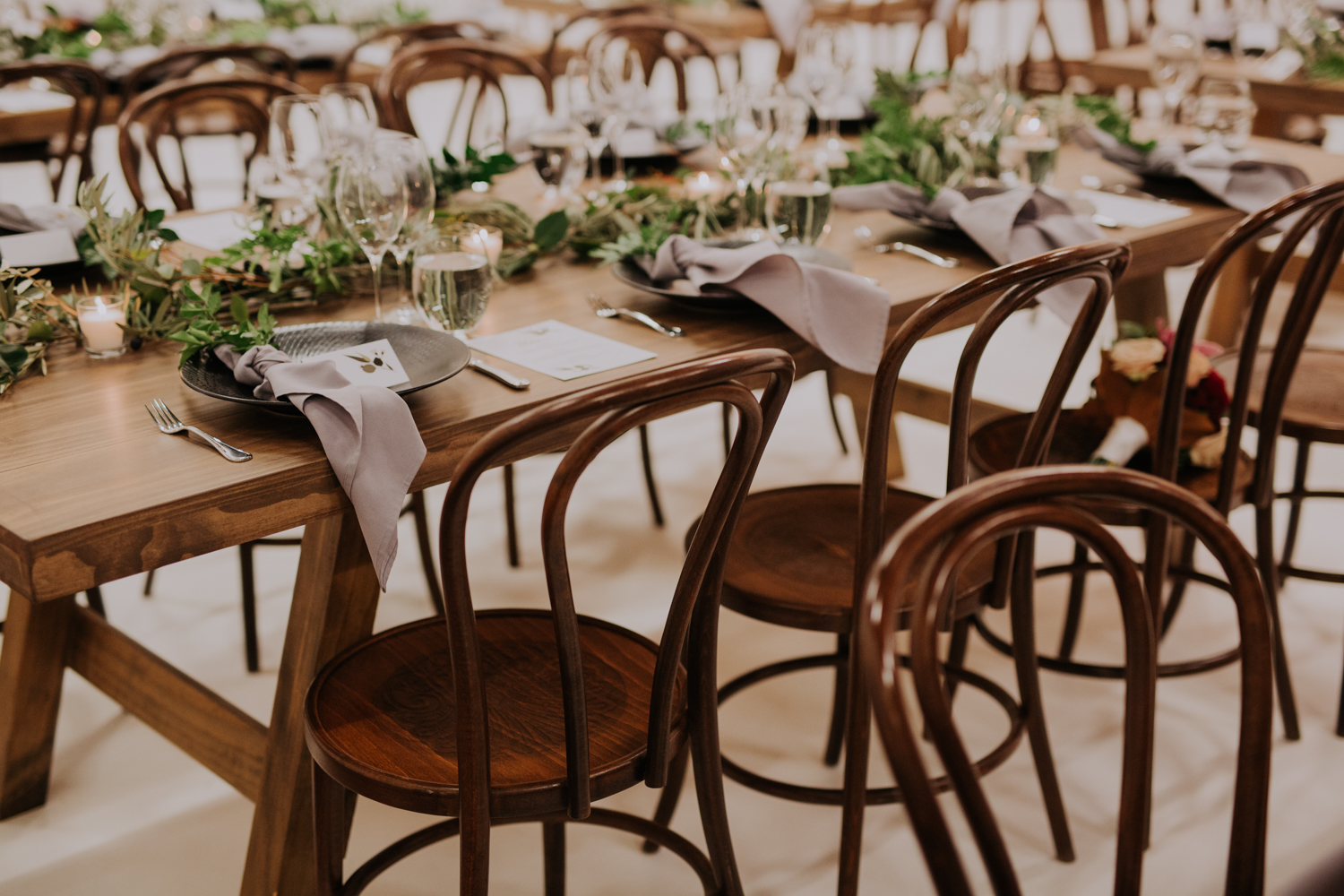 white+white weddings and events carrie and jay real wedding styling timber rustic studio warehouse venue bentwood chairs table setting