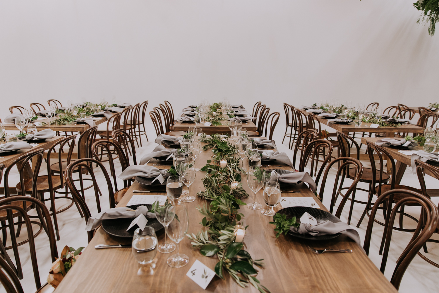 white+white weddings and events carrie and jay real wedding styling timber rustic studio warehouse venue bentwood chairs