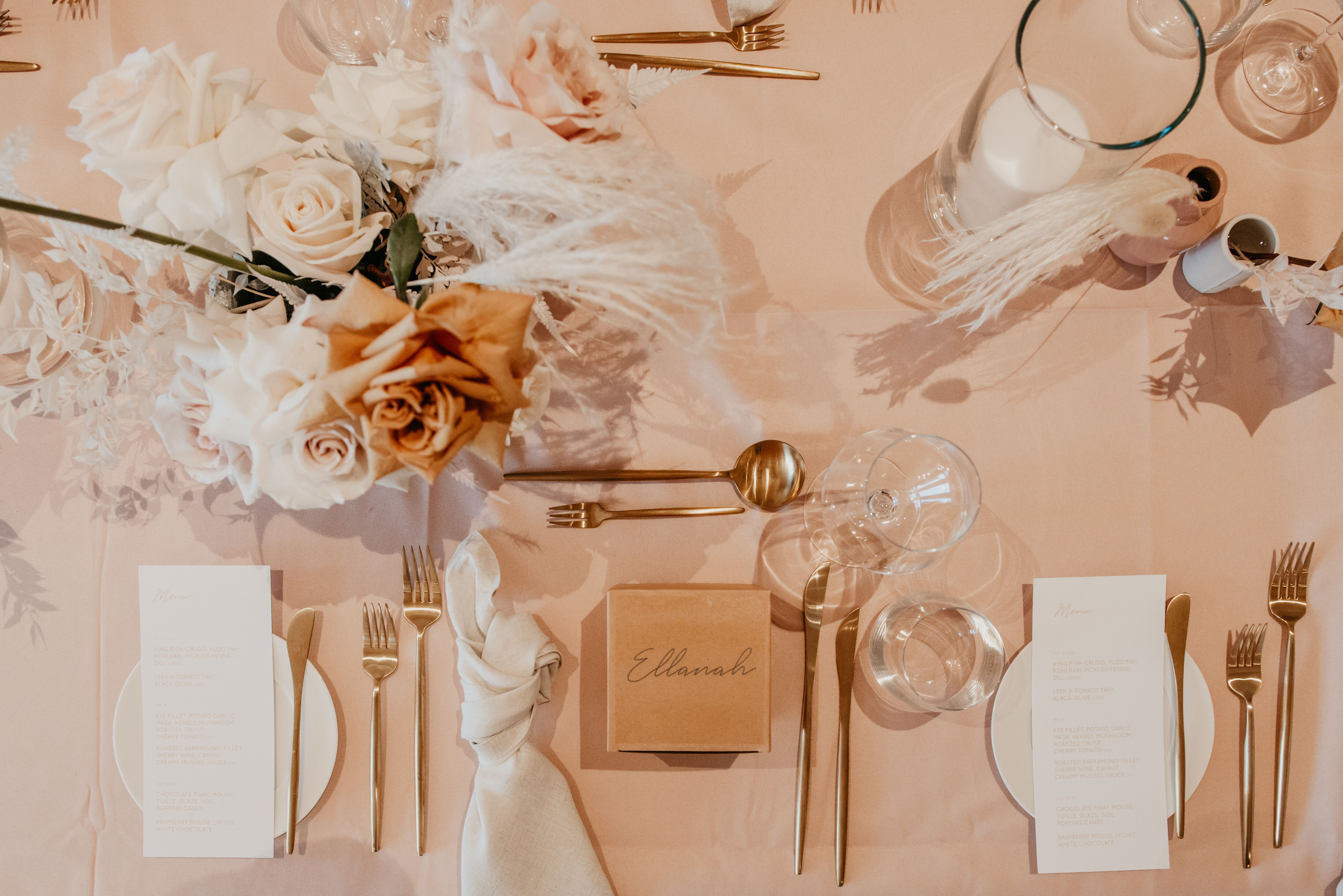 the wedding school white+white weddings and events the calile wedding table styling pink blush gold tones cutlery
