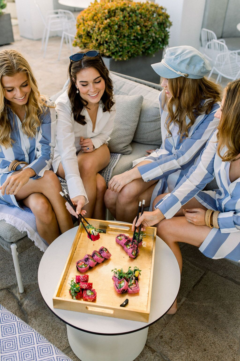 styled shoot white+white weddings and events get robed modern pink blue and white pink sushi