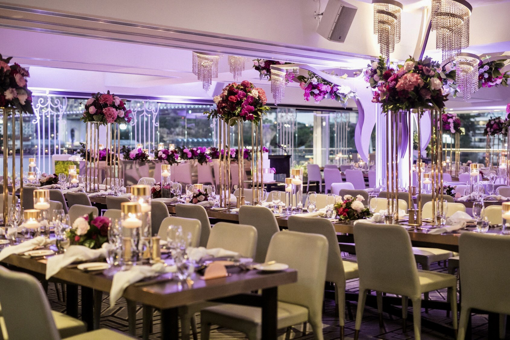 white+white weddings and events the wedding school jenny john black bird private dining full reception room purple deep wedding flowers florals
