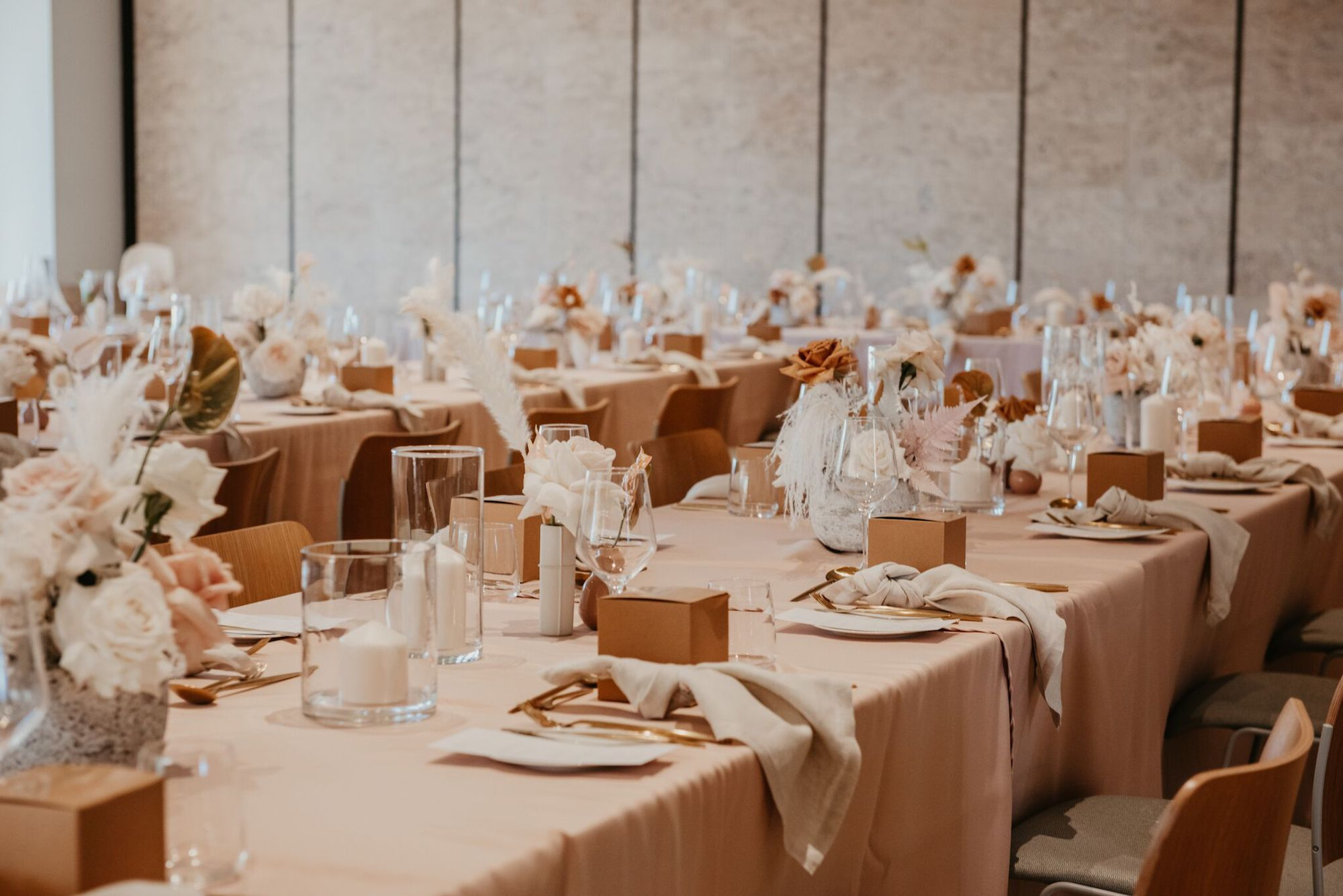 white+white weddings and events the wedding school the calile hotel reception blush