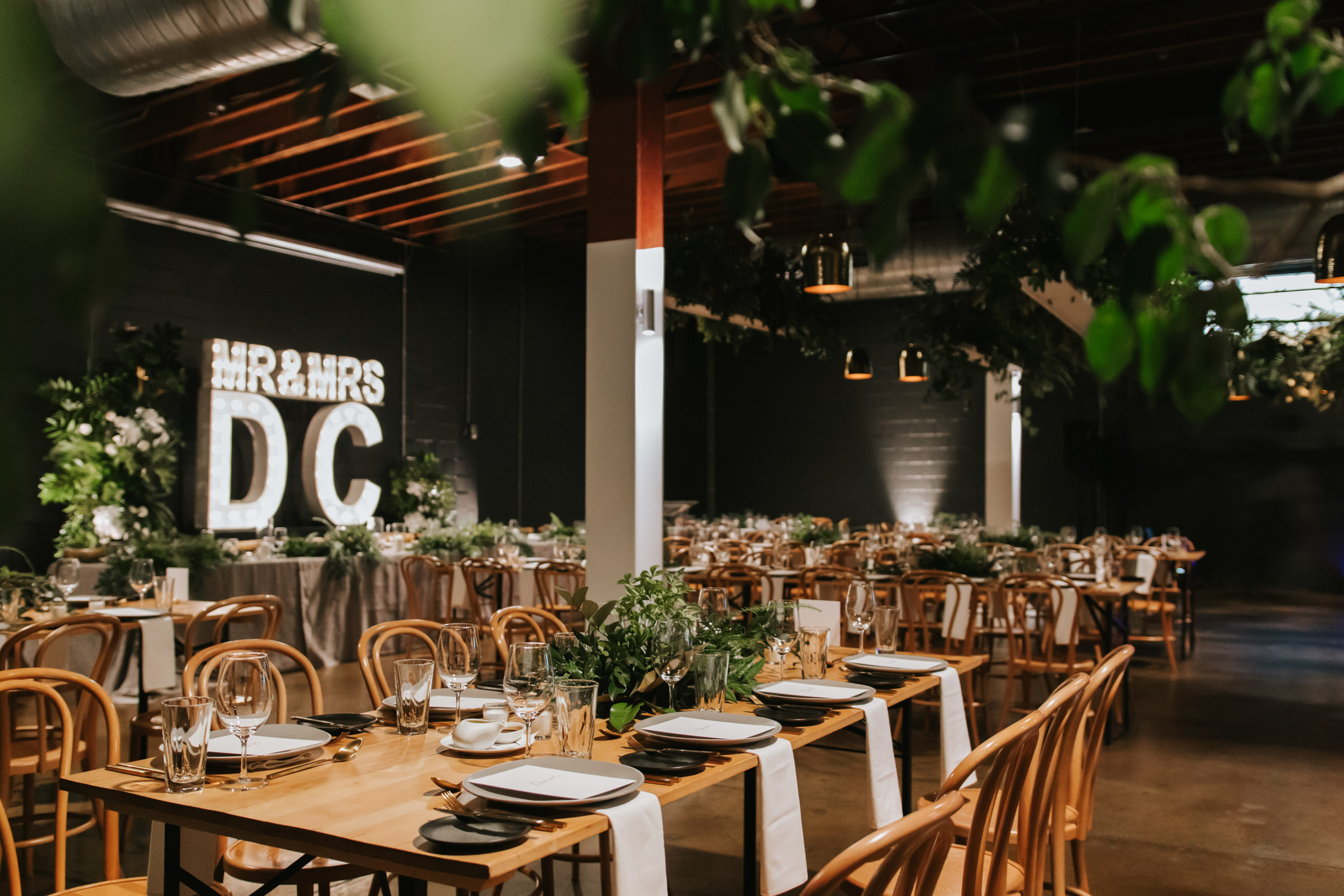white+white weddings and events the wedding school lightspace reception landscape